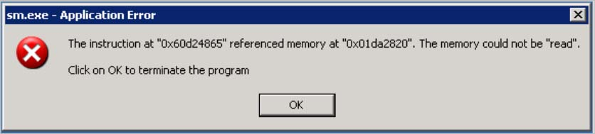 Application Error The Instruction At 0x60d24865 Referenced